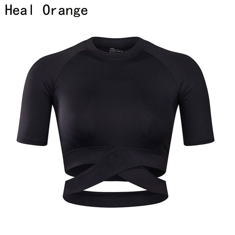 GUARIRE ARANCIONE Donne Yoga Shirt Sexy Top Sport Fitness Stile Crop Top Solido Camicia In Esecuzione Sport Palestra Vestiti Canotte Sportswear