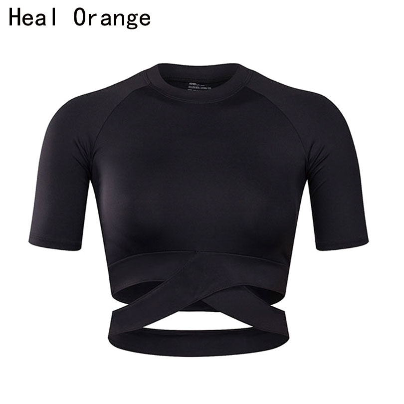 HEAL ORANGE Women Yoga Shirts Sexy Sports Top Style Fitness Crop Top Solid Running Shirt Sport Gym Clothes Tank Tops Sportswear green sexy self tie design button crop top
