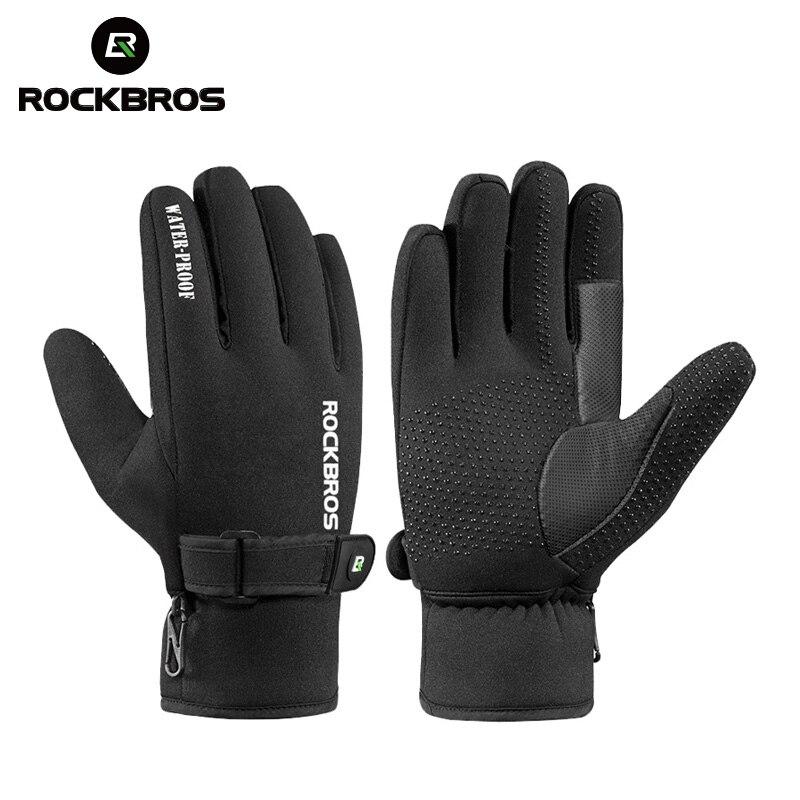ROCKBROS Cycling Full Finger Gloves Winter Windproof Warm Fleece Gloves Black