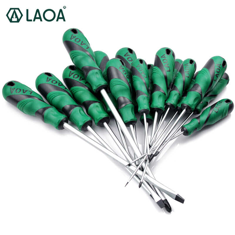 LAOA 1pcs Slotted Screwdriver S2 Material Phillips Screwdrivers Double Color handle Screw Driver With Magnetism