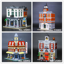LEPIN 15001 Brick Bank 15002 Cafe Corner 15003 The town hall 15004 Fire Brigade Building Blocks Toy 10251 10197 10224 10182