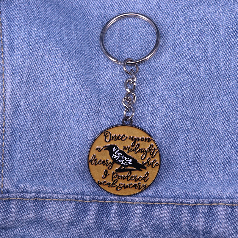 US $2 81 28% OFF The Raven Enamel Keyring Edgar Allan Poe Gothic Literature  Collection Book Lover Nevermore Halloween Keychain-in Brooches from