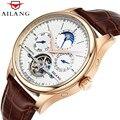 AILANG Брендовые мужские автоматические часы с кожаным скелетом Tourbillon  механические часы  мужские часы с корпусом из розового золота  Новинка