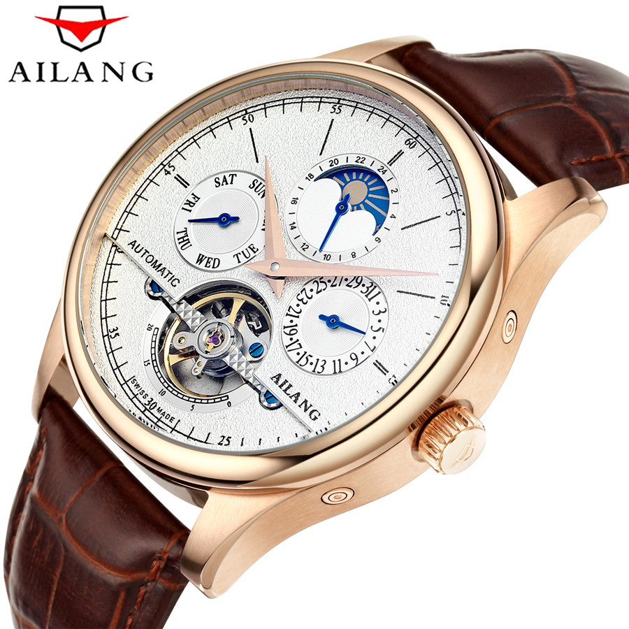 AILANG Brand Men Automatic Self-wind Watches Leather Skeleton Tourbillon Mechanical Clock Male Rose Gold Shell Watch New shenhua brand black dial skeleton mechanical watch stainless steel strap male fashion clock automatic self wind wrist watches