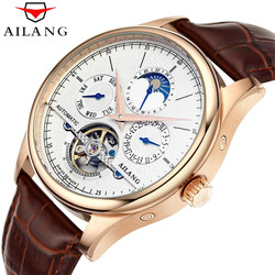 AILANG marka mężczyźni automatyczne self-wiatr zegarki skórzany zegarek szkieletowy z tourbillonem mechaniczny zegar mężczyzna różowe złoto powłoki zegarek nowy