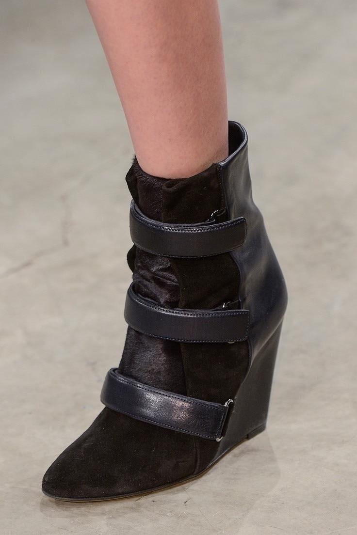Pista della caviglia punta a punta stivali di alta qualità stivali zeppa in pelle donna di modo breve stivali buckle strap stivali nero beige
