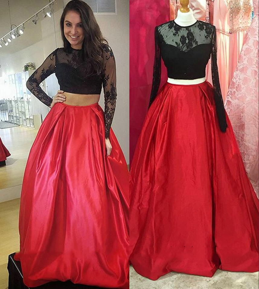 Unique Lace Two Piece Ball Gown Prom Dresses Girls Satin Black Red