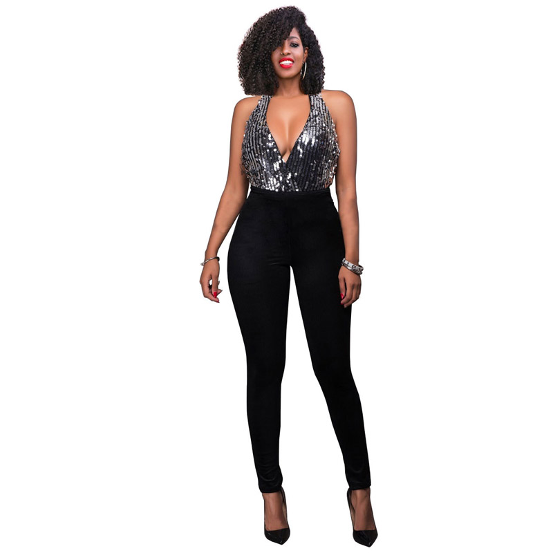 Ladies Slivery Sequin Black Skinny Long Pants Patchwork Backless Sexy Halter Deep V Neck Ankle Length Night Party Club Jumpsuit