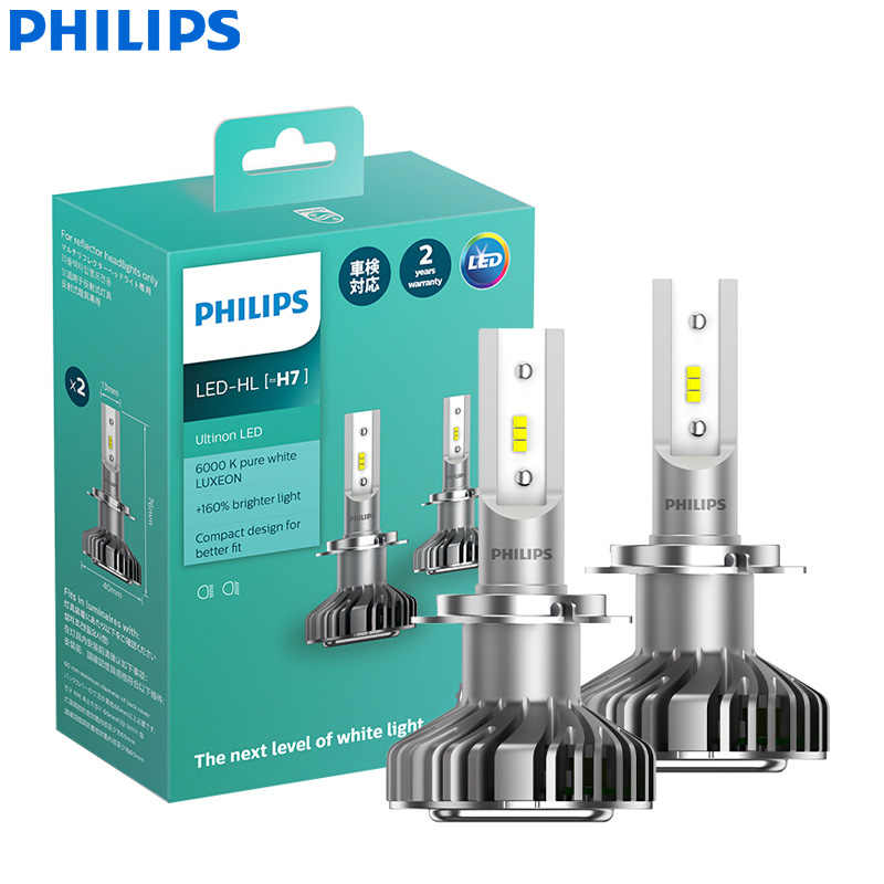 Philips Ultinon LED H7 12V 11972ULX2 6000K Bright Lamps Car LED Headlight Auto HL Beam +160% More Bright Germany(Twin Pack)