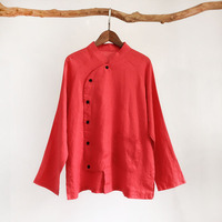 Autumn New Retro Range Plate Buttons Stand Collar Linen Embroidered Long sleeve Shirt Female National Wind