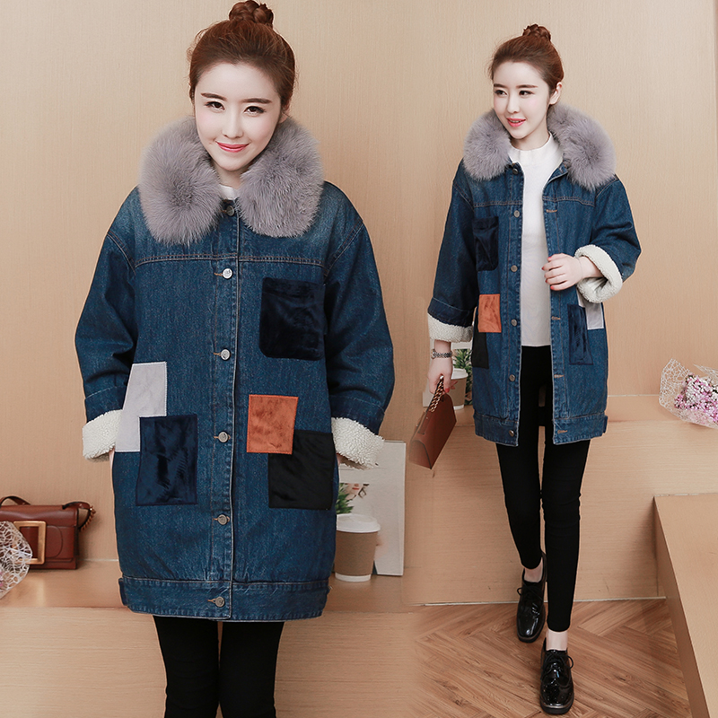 Woman Long Winter Coats And Jackets 2017 New High Street Faux Fur Coat Loose Fur Collar Denim Coat Jeans Parka Female