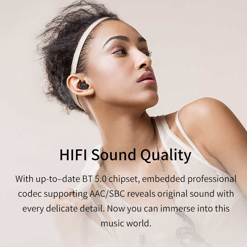 QCY QS1 T1C Tws Bluetooth V5.0 Headset Olahraga Wireless Earphone 3D Stereo Speaker Mini Mini Di Telinga Dual Microphone dengan Pengisian kotak
