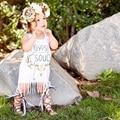 Bebé recién nacido Ropa 2016 Nueva Carta Floral Blanco Fringe Borlas Del Bebé Niños Niñas Vestido de Fiesta Vestido de Tirantes Trajes de Una sola pieza