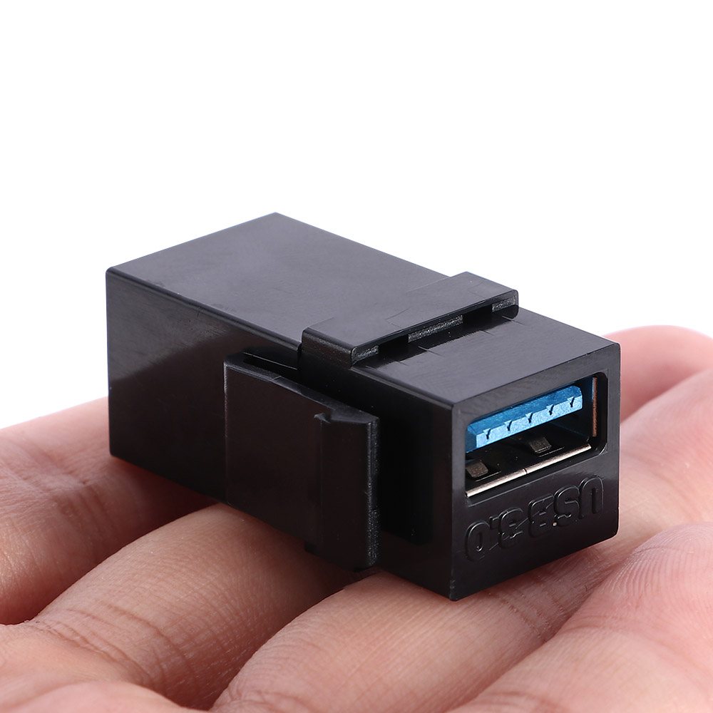 Fashion USB 3.0 Keystone Jack Inserts USB Adapters Cable Interface Coupler Female To Female Connector Extension Black