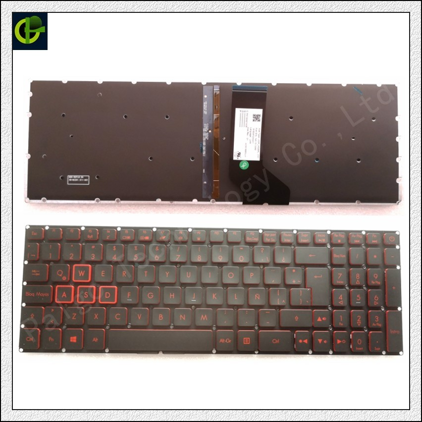 Spainish Backlit Keyboard for Acer Nitro 5 AN515 AN515-51 AN515-52 AN515-53 AN515-41 AN515-42 AN515-31 AN515-51-56U0 Latin LA sp