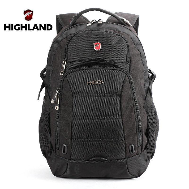 ФОТО HIGHLAND Brand women backpack school bag for teenager black large capacity polyester men travel 24L cheap