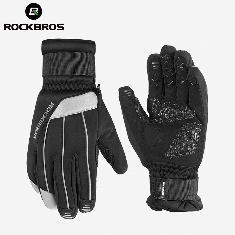 ROCKBROS MTB Bicycle Bike Ski Gloves Waterproof Anti-slip Touch Screen Skiing Snowboard Winter Warm Cotton Soft Cycling Gloves bikein cycling bike sports waterproof soft touch screen glove winter racing warm windstopper gloves s m l xl bicycle accessories