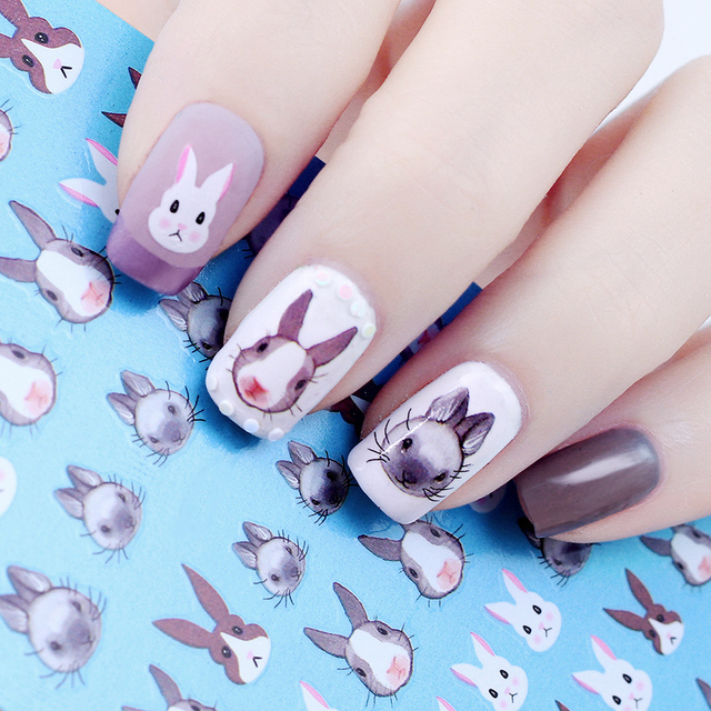 Rabbit Pattern Nail Water Decal Kawaii Bunny Flower Nail Art ...