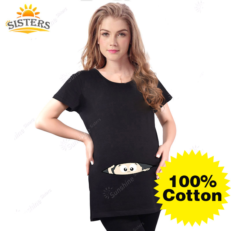 मातृत्व अजीब बेबी पीकिंग आउट टी शर्ट्स ब्लैक रेड गर्भवती महिलाएं टीज़ 100% सूती कपड़े गर्भावस्था वस्त्र पहनती हैं