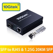 10Gtek Media Converter, Kit2#, 1.25Gb/s 20KM [10/100/1000Base-Tx to 1.25G SFP Slot] + [SFP 20km Transceiver, SMF]