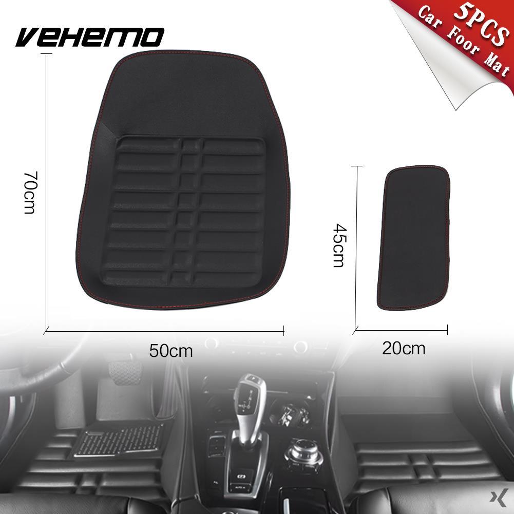 Vehemo 5 pièces tapis de sol noir conducteur conduite Auto tapis voiture tapis de sol universel coussin de pied Premium Vans