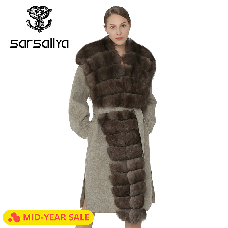 SARSALLYA Women Coat Slim Winter Warm Fashion Coat Ladies Fox Fur Collar Self Belt Women Clothing Jacket Overcoat