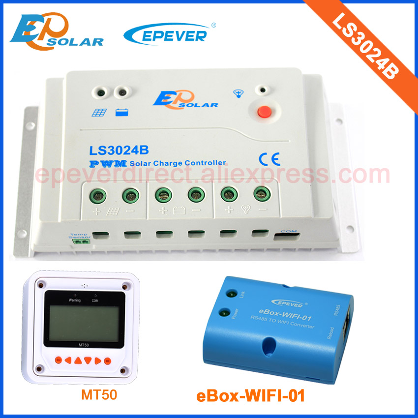 LS3024B with wifi BOX and MT50 remote meter for monitor and setting EPEVER solar 30A controller charger regulator 12v/24v solar 12v battery charger for home system use controller with wifi connect funciton box ls3024b 30a 30amp mt50 remote meter