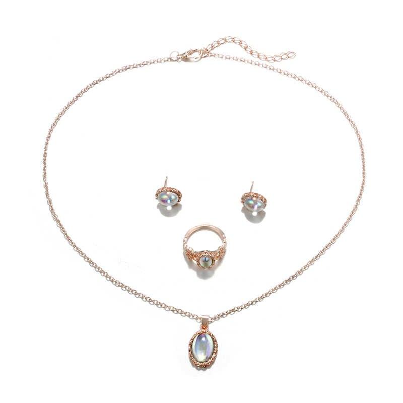 HuaTang 3 unids/set conjunto de joyas para mujer de lujo anillo de ópalo de colores dorados pendientes colgantes adecuados para conjuntos de joyas de fiesta de boda 6517