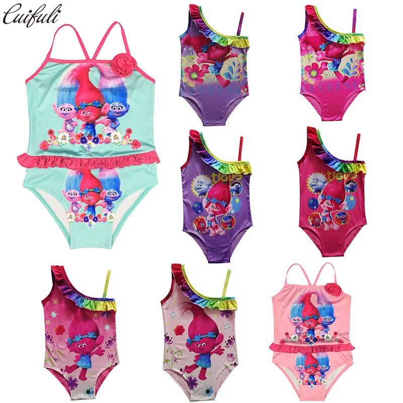 Girl's Swimsuit Cartoon Trolls Printed One Piece Swim wear Kids clothes Cosplay Costume Baby Girl Beach Wears Summer Clothing