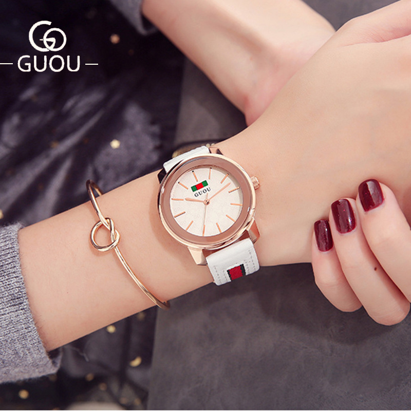GUOU Watch Women Top Luxury Brand Temperament Ladies Wrist Watches Leather Watch Strap Simple Fashion Watch relogio feminino relogio feminino sinobi watches women fashion leather strap japan quartz wrist watch for women ladies luxury brand wristwatch