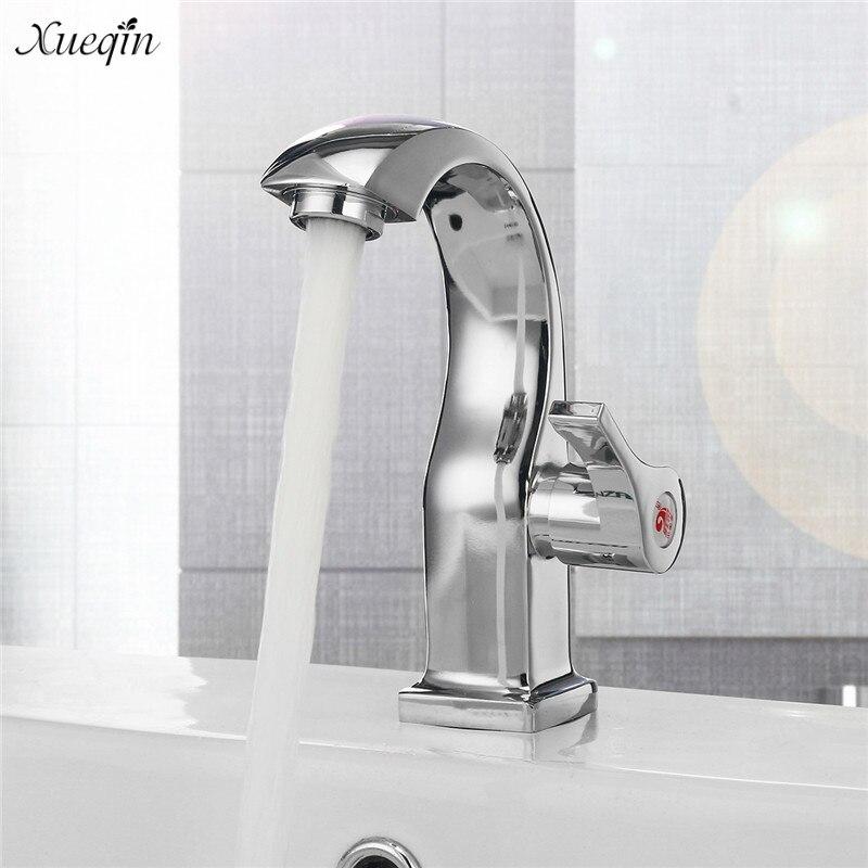 Xueqin Chrome Deck Mount Single Handle Bathroom Basin Faucets Spout Kitchen Single Hole Bath Tap Single Cold Water Tap single