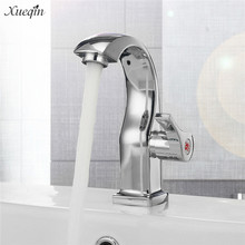 Xueqin Chrome Deck Mount Single Handle Bathroom Basin Faucets Spout Kitchen Single Hole Bath Tap Single Cold  Water Tap