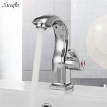 Xueqin torneira única para banheiro, torneira cromada para água fria com único furo