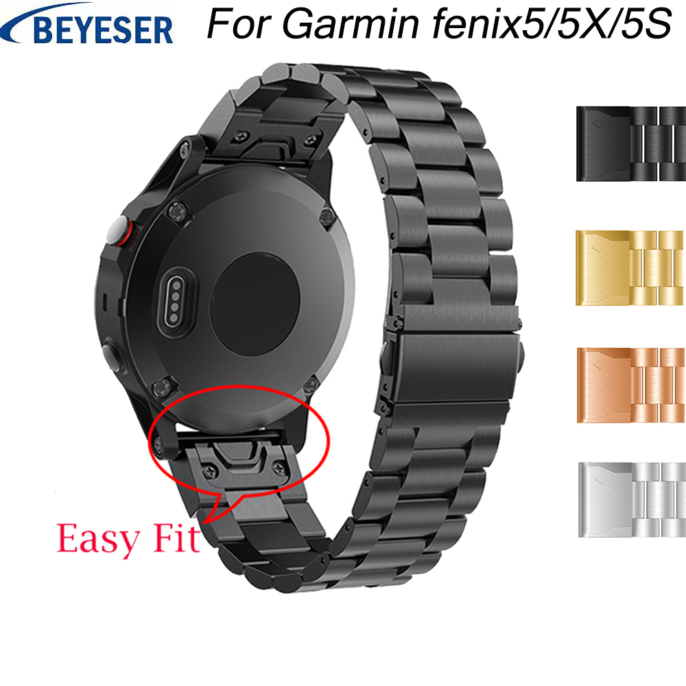 26 22 20MM Watchband Strap For Garmin Fenix5/5X 5S 3 3HR Watch Quick Release Easy Fit Stainless Steel Sport Wrist Band Straps