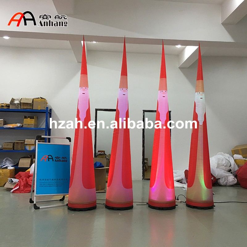 Xmas Decorations Lighted Inflatable Cone with Santa Printing newest xmas decorations inflatable christmas band with santa deer snowman and penguin inflatable quartet