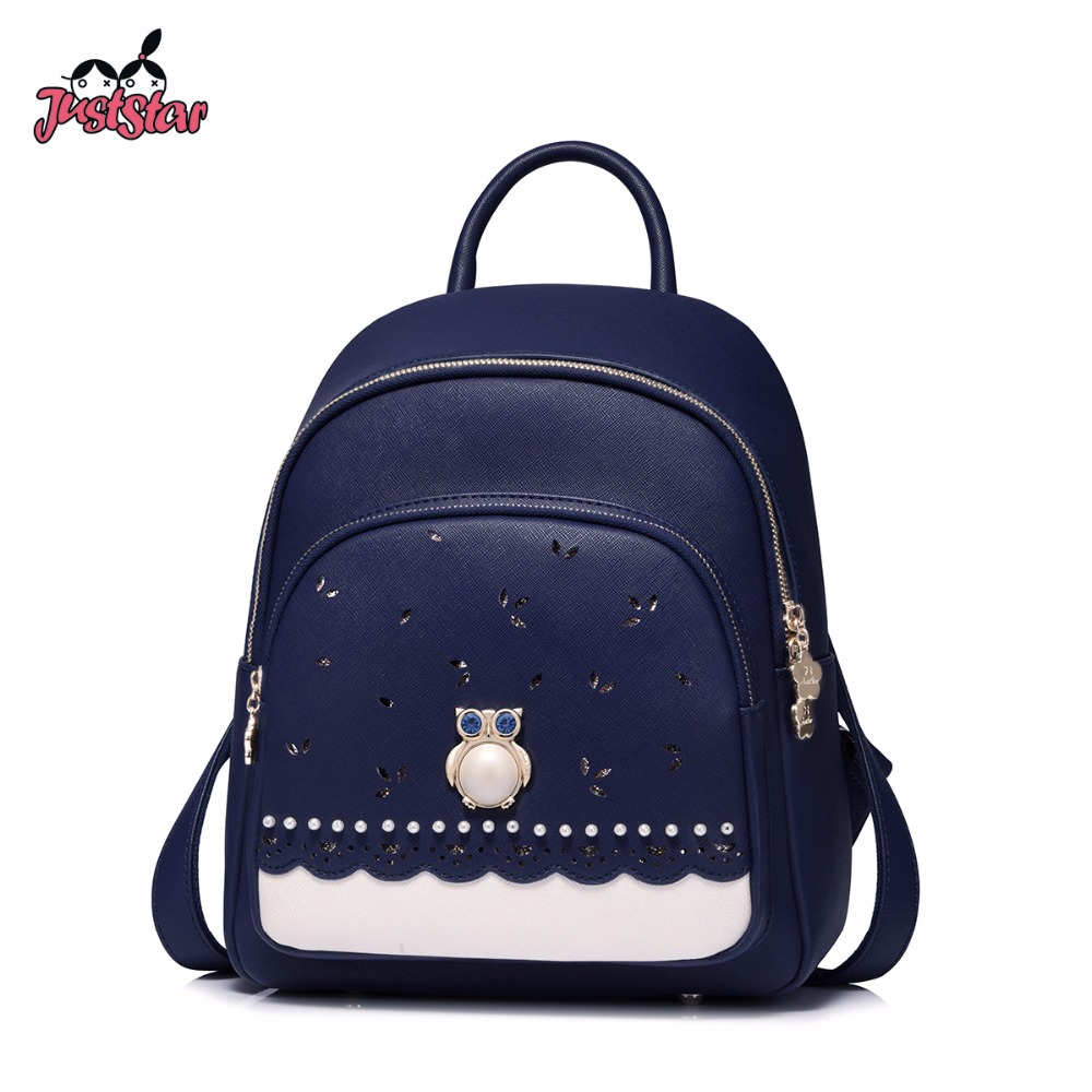 JUST STAR Women's Leather Backpack Female Fashion Owl Beading Double Shoulder Bags Ladies Panelled Preppy Brand Travel Rucksack