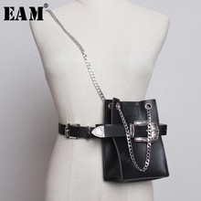 [EAM] 2020 New Spring Summer Pu Leather Personality Chain Buckle Split Joint Bag Belt Two Ways Wear Women Fashion Tide JL687