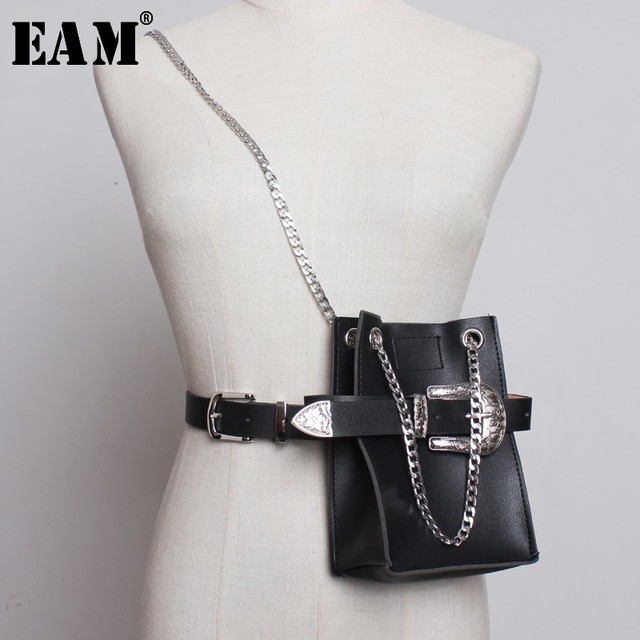 [EAM] 2020 New Spring Summer Pu Leather Personality Chain Buckle Split Joint Bag Belt Two Ways Wear Women Fashion Tide JL687