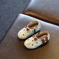 Вырезать! 2016 Осень/зима Новорожденных Девочек PU Кожаные Ботинки малыша Прекрасный Лук Slip-on Обувь Малыша Мягкие Плоские обувь Дышащий размер 21-25