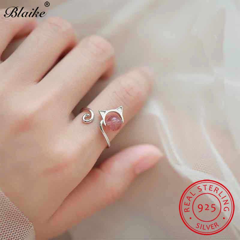 Blaike น่ารักเปิดแหวนแมวสำหรับผู้หญิง 925 แหวนเงินหญิงสีชมพูหินหญิงนิ้วชี้แหวนเครื่องประดับ