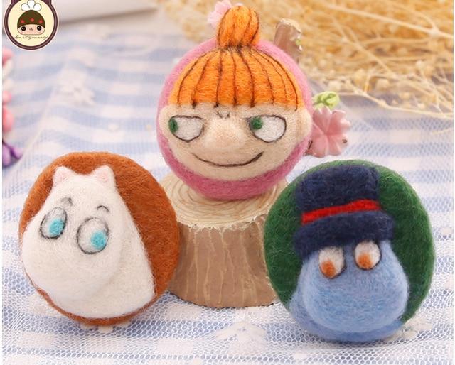 Japanese Cartoon Animal Set Wool Needlepoint Kit Wool Felt Needle