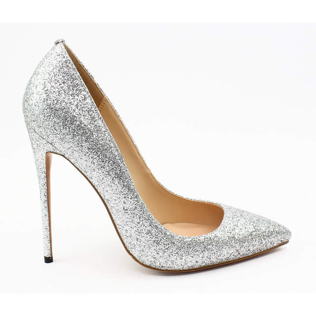5179bcc892 US $75.02 |Carollabelly Sexy Glitter Brand Women Shoes 12cm High Heel Pumps  Pointed Toe Wedding Bridal Shoes Party Shoes Big Size 34 46-in Women's ...