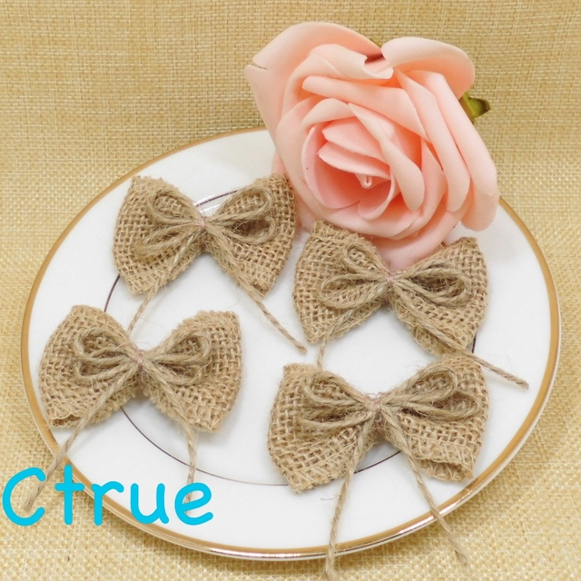 24PCS Natural Jute Burlap Hessian Bowknot Bows Hat Accessories Craft Rustic  Wedding Decoration Supplier DIY Craft