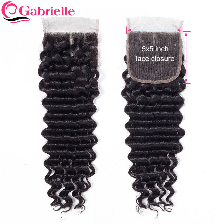 Gabrielle Lace Closure Human-Hair Deep-Wave Natural-Color Brazilian 5x5 with Baby