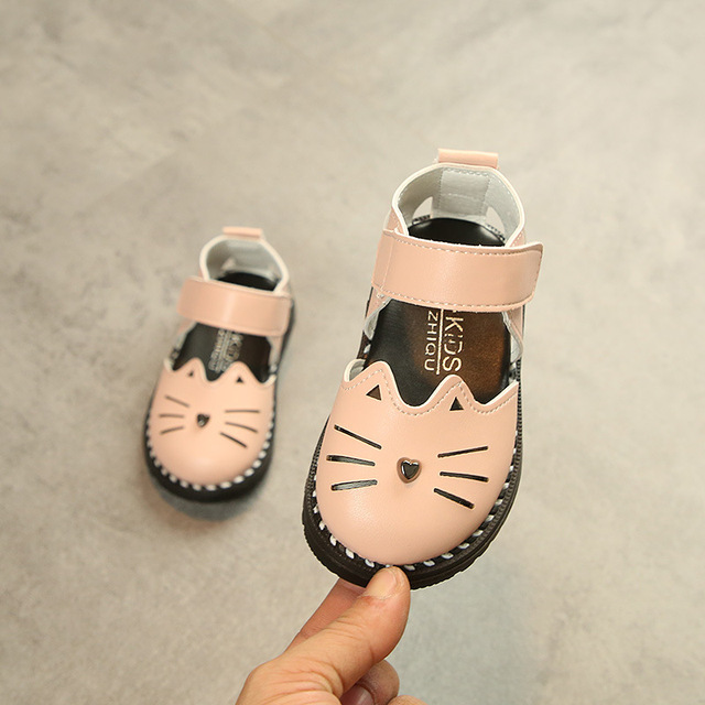 Kids Shoes For Girl Toddler Baby Shoes 2018 Summer Lovely Cartoon Cat Soft  Closed Toe Pu ba93741b4473