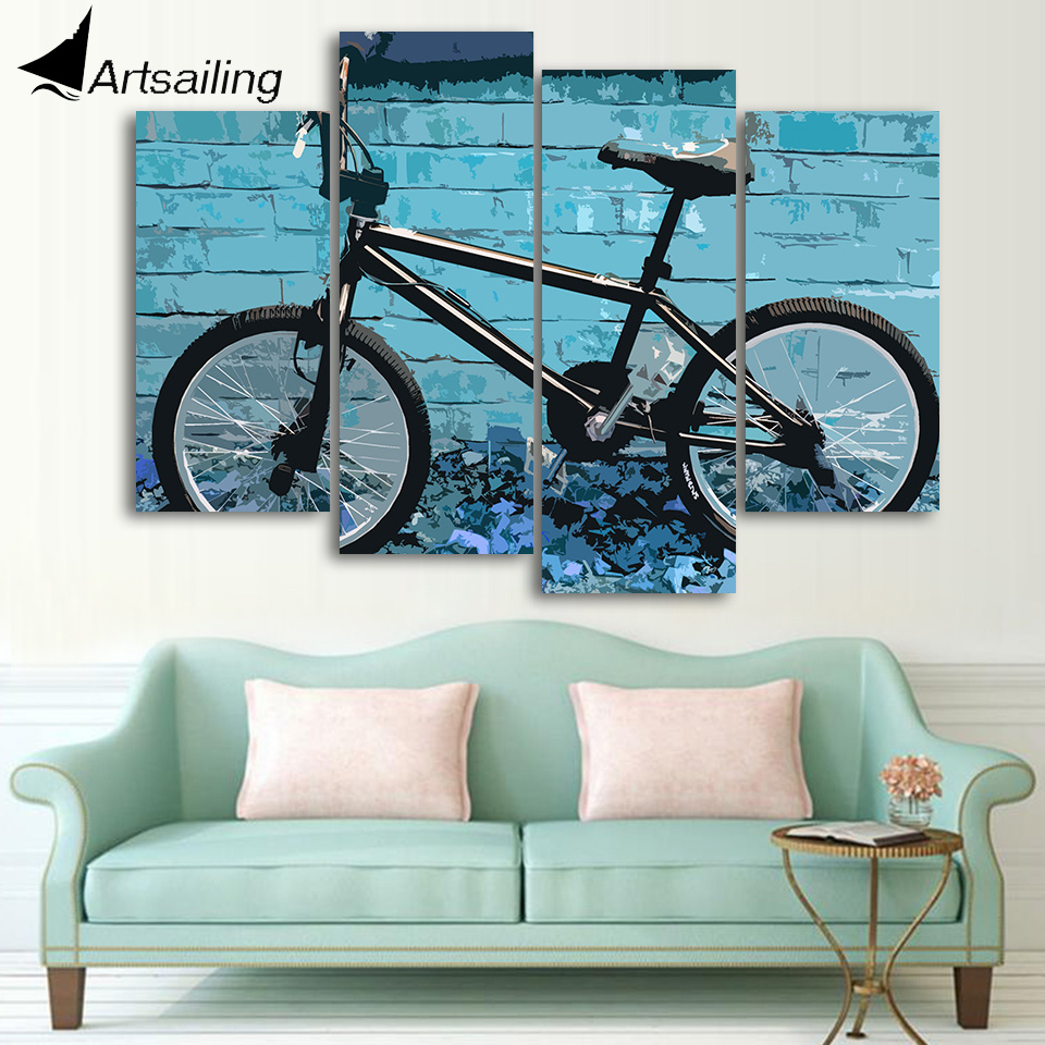 Hd Printed 4 Piece Canvas Wall Art Bmx Abstract Painting