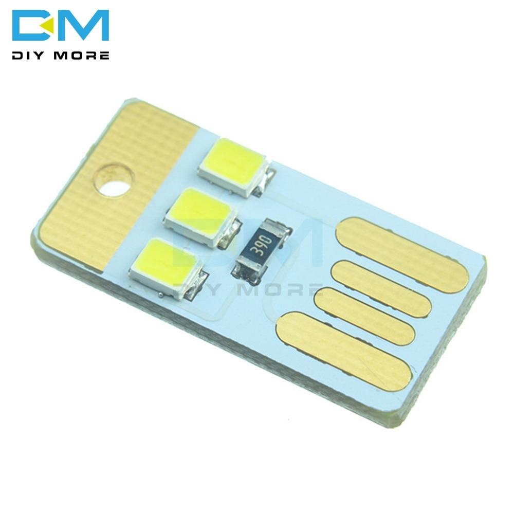 5PCS Mini Night USB LED Keychain Portable Power White Board Pocket Card Lamp Bulb LED