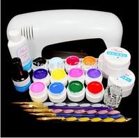 PRO FULL 9W UV GEL White Lamp NAIL KIT 12 Color Pure UV GEL Nail Art Set