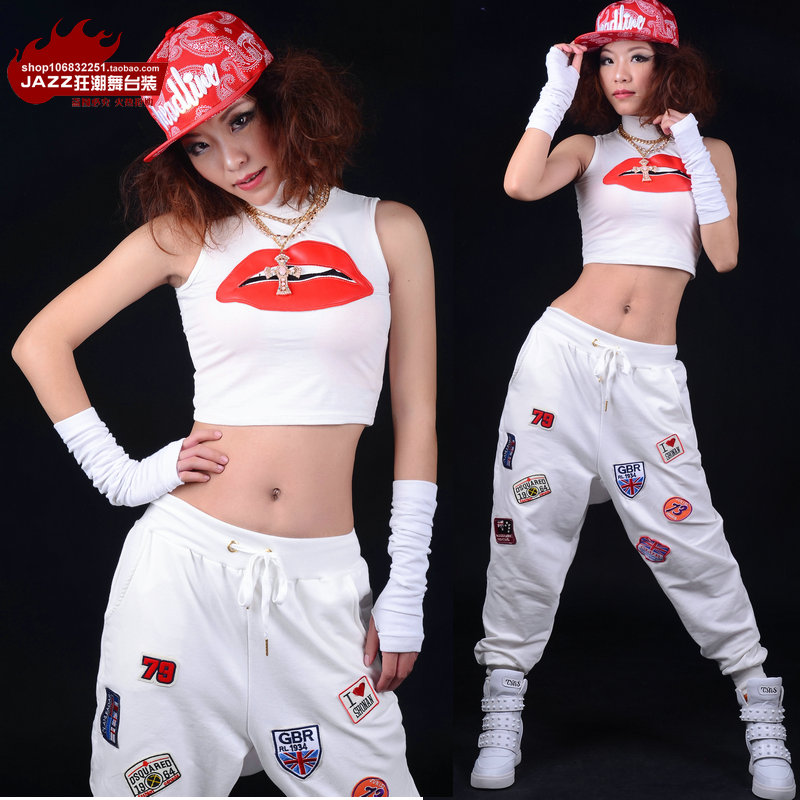 1ce1dfb78263 2014 New Fashion hip hop loose top T-shirt jazz dancer Tanks Jazz costume  performance wear Mouth patten Sexy Sleeveless Vest