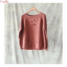 Pockets Elaborate Femal Rglan Sleeve Casual Knitted Pullovers Women Soft Knitting Sweaters Tops